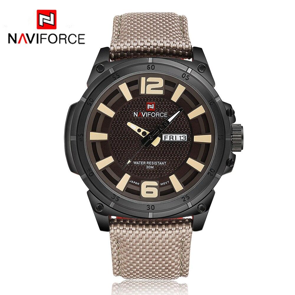 6dabe5ca52e8 NAVIFORCE 9066 Correa de Lona de Cuero Marca de Relojes de Lujo Hombres  Reloj de Cuarzo