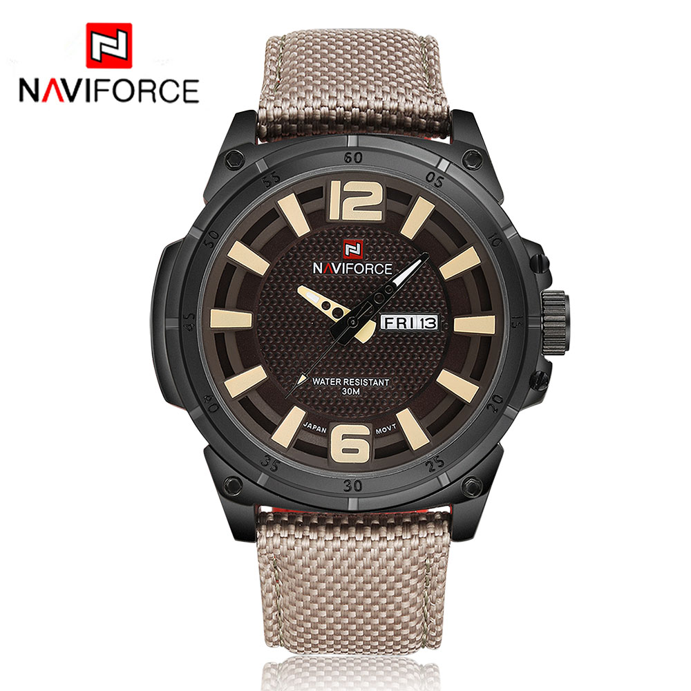 NAVIFORCE 9066 Luxury Brand Watch Men Quartz Analog Clock Leather Canvas Strap Clock Man Sports Watches Army Relogios Masculino dom men watch top luxury men quartz analog clock leather steel strap watches hours complete calendar relogios masculino m 11