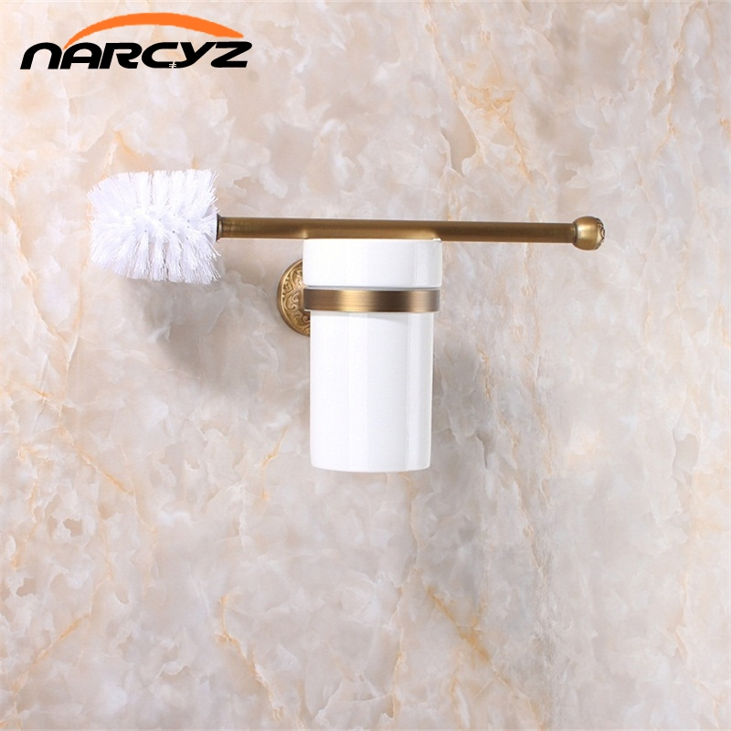 Luxury Antique Bronze Finish Toilet Brush Holder With Ceramic Cup Bath Decoration Bathroom Accessories 9056K european luxury bathroom accessories antique bronze toilet brush holder bath products high quality free shipping