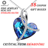 AOBOCO Brand Ribbon Big Blue Heart Pendant Necklaces For Women Girl Crystal From Swarovski Fine Jewelry Popular Love Choker