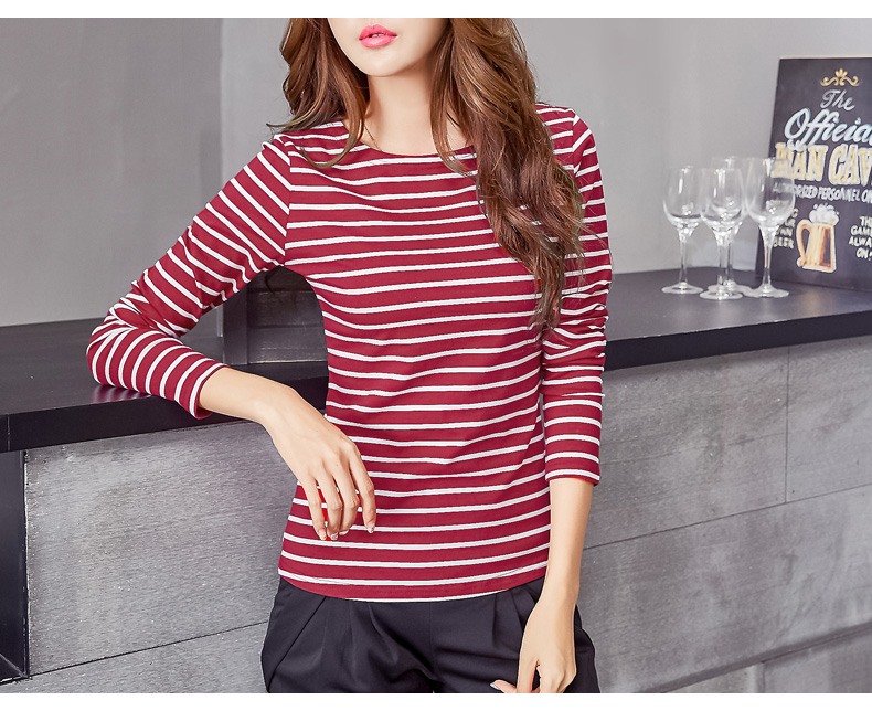 HTB1o3AipQSWBuNjSszdq6zeSpXan - Soperwillton Cotton T-shirt Women New Autumn Long Sleeve O-Neck Striped Female T-Shirt White Casual Basic Classic Tops #620