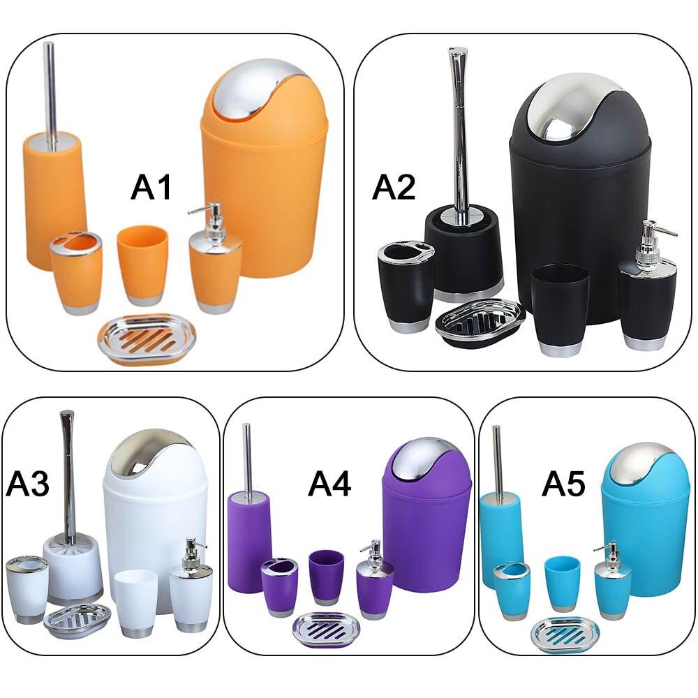 6 pièces salle de bains en plastique douche brosse boîte à savon brosse à dents tasse bain de bouche tasse Lotion bouteille poubelle Set maison hôtel fournitures