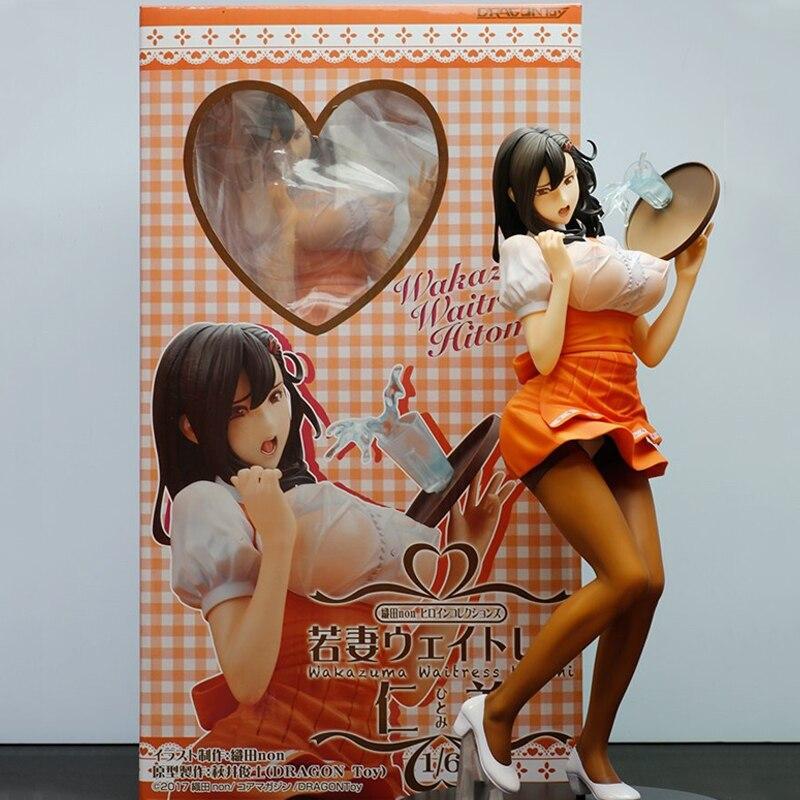 29cm Oda Non Heroine Wakazuma Waitress Hitomi Sexy Girls Anime PVC Action Figures Toys Anime Figure Toys For Kids Children Gifts