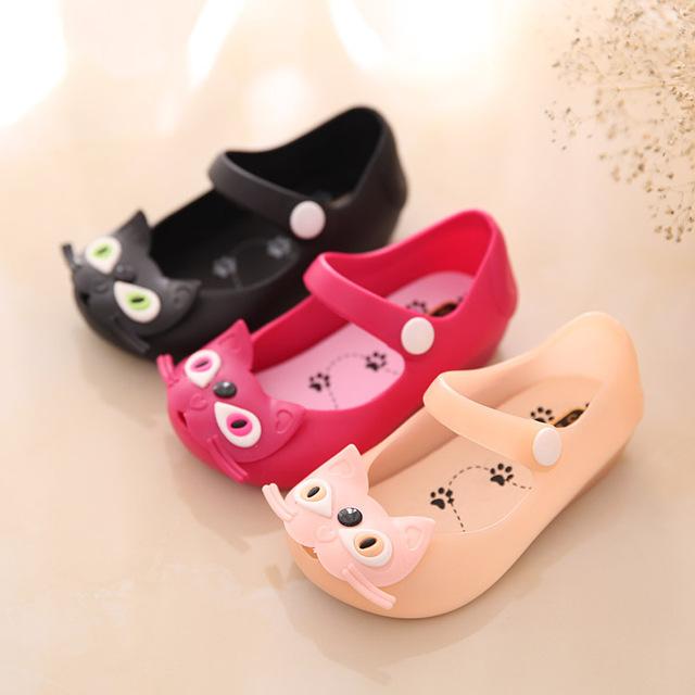 13-15.5 cm Verano 2016 Mini SED sandalias de las muchachas del niño del bebé de dibujos animados búho gato mitch zapatos de la jalea