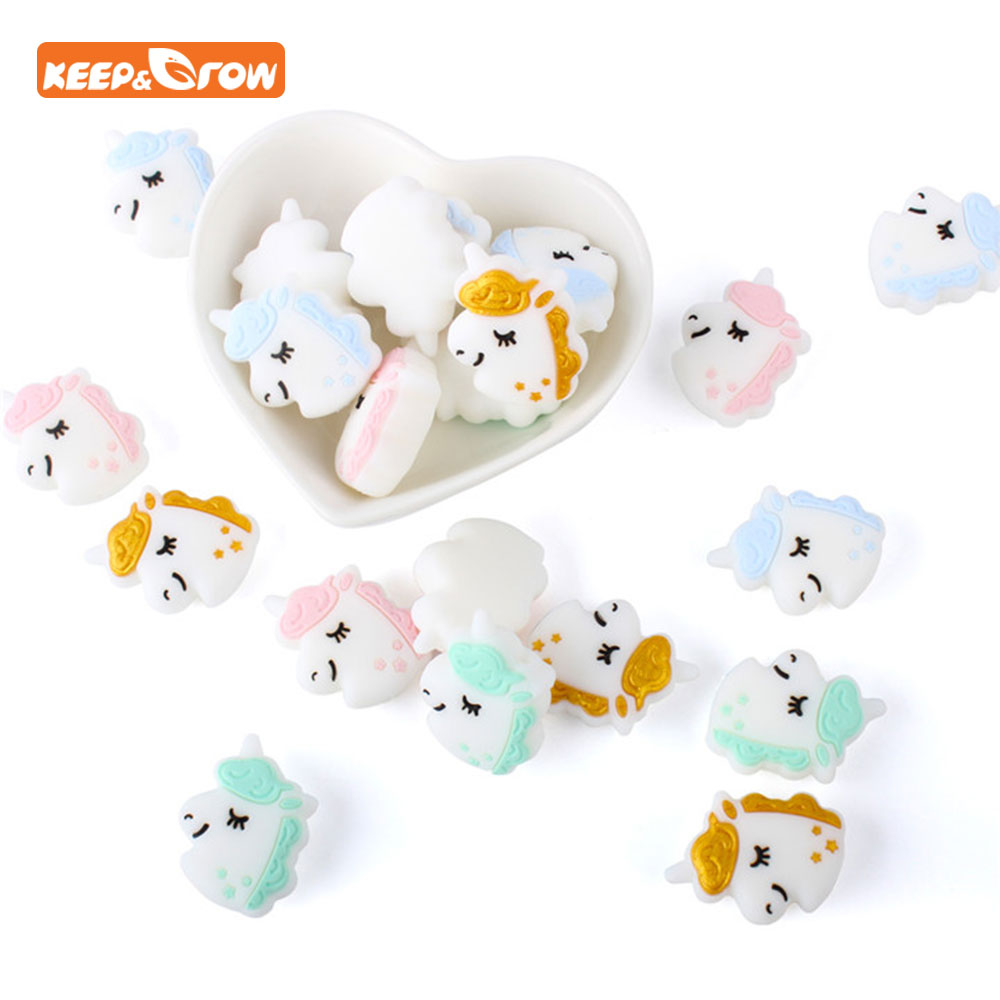 Keep&grow 10Pcs Unicorn Perle Silicone Beads BPA Free Animal Teether Bead For DIY Teething Necklace Pacifier Chain Baby Products