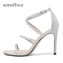 SOPHITINA Elegant Thin Heels Sandals High Quality Handmade Wedding Party Shoes 9CM Bling Crystal Narrow Band PO171
