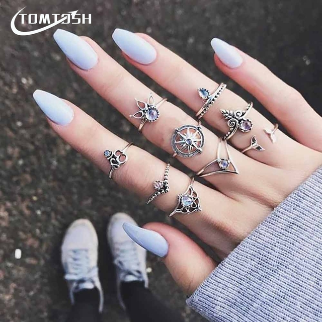 FAMSHIN 9Pcs/Set Fashion Vintage Gold Silver Color Rudder And Crown Knuckle Ring