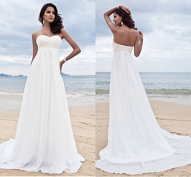 White Wedding Dress 2016 Classic Western Country Empire Bridal Gowns ...