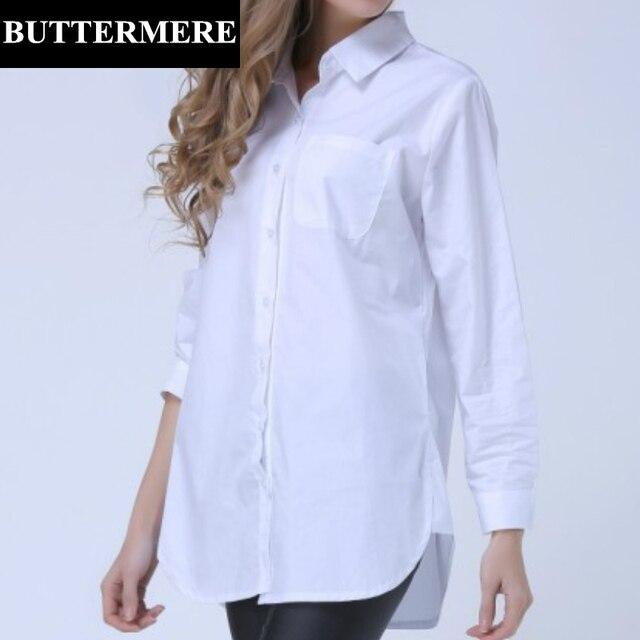 fe6a7f8cee BUTTERMERE Marca de Roupas Plus Size Mulheres Blusa Branca 4XL 5XL Tamanho  Grande Manga Longa Azul