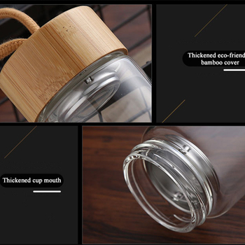 380ml 450ml High Quality Glass Water Bottles Bamboo Lid With Rope Drink Bottled For Beverages Outdoor Brief Portable Tea bottle 5