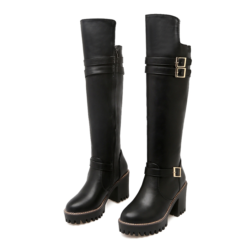 New Arrival Pu Leather Women Boots Over The Knee Shoes Square Heels High Long Boots Black Gray Beige Women Shoes YZ09 enmayer over the knee boots shoes new pu knitting square heel high boots warm snow long boots red brown black knight boots
