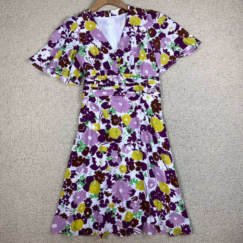 Purple Floral PRINT dress Short Cape Sleeves V neck with buttons Gathered Waist Fashion dress Woman