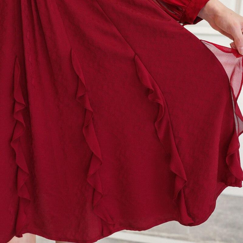 Vêtements À A10085 Longues Grande Robes Taille Élégants Pour Automne Soie Manches Mi Décontracté Femmes Lanterne Foncé Rétro Voa longues Mince Rouge Robe x1Hpwz0wqZ