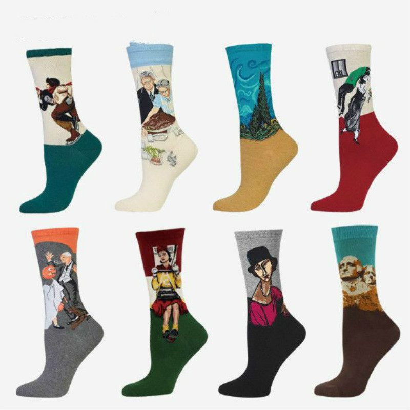 New Retro Art Cotton Women Men Crew Socks Famous Painting Series Pattern Novelty Casual Colorful Harajuku Design Sox Funny Hot
