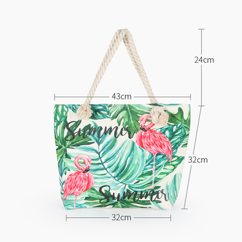 Hot Sale Flamingo Printed Casual Bag Women Canvas Beach Bags High Quality Female Single Shoulder Handbags Ladies Tote BB196 2