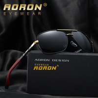 9ff0116b320933 AORON Men Polarized Sunglasses Men Brand Original Design Metal Frame  Rectangle Lens UV400 Glasses Eyewear
