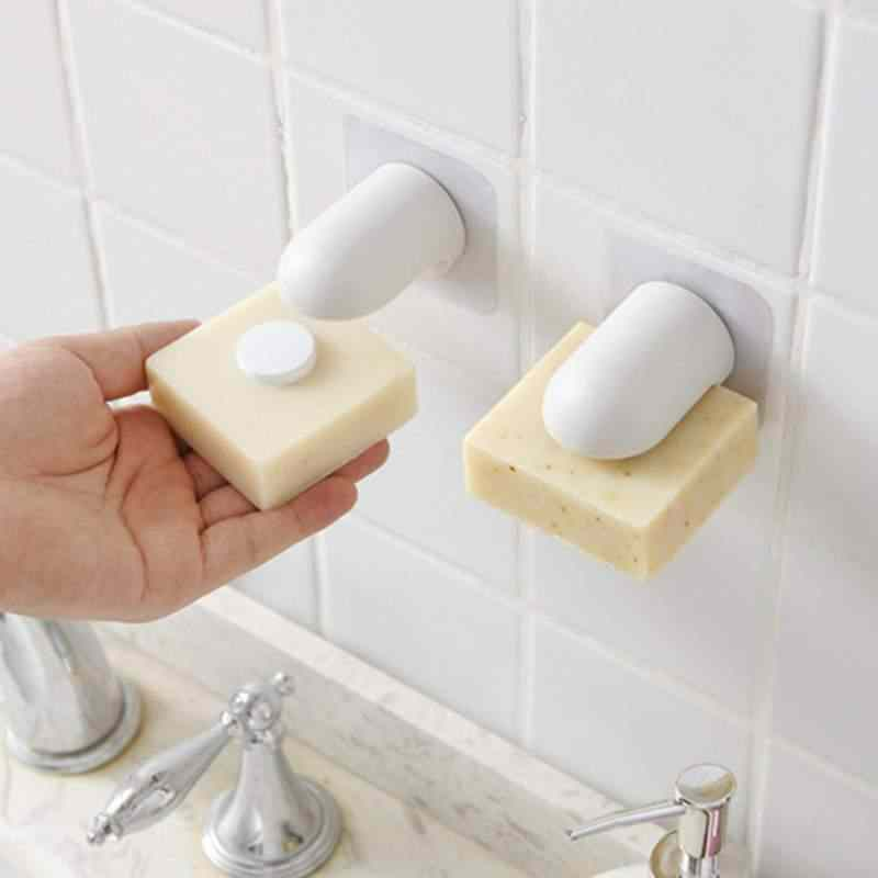 Magnetic Soap Holder Dispenser Kitchen Bathroom Shower Adhesive Wall Attachment Shower Rail Liquid Soap Dishes Wall Mounted