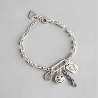 Vintage 925 Sterling Silver Doll Smiley English Tag Chain Female Bracelet Simple Fashion Fine Jewelry Top Quality 2019 WDB003