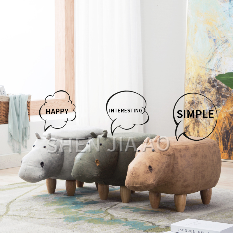 Hippo Animal Stool Childrens Animal Shoe Bench Creative Storage Storage Solid Wood Sofa Stool Cute Animal Stool 1PC