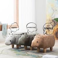 Hippo Animal Stool Childrens Animal Shoe Bench Creative Storage Storage Solid Wood Sofa Stool Cute Animal Stool 1PC