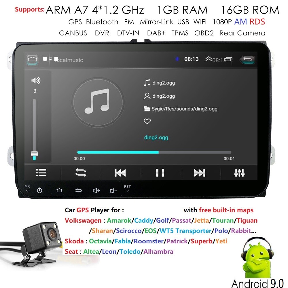 9 Android 9 0 Car Multimedia player 2Din For VW Volkswagen Golf Polo Tiguan Passat b7