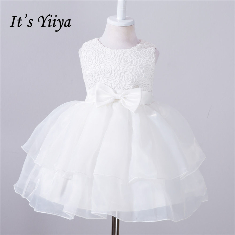It's YiiYa 5 Colors Sleeveless O-Neck Bow Pattern Sashes Lace Tiered Kids Princess   Flower     Girls     Dress   Pageant Party TS160