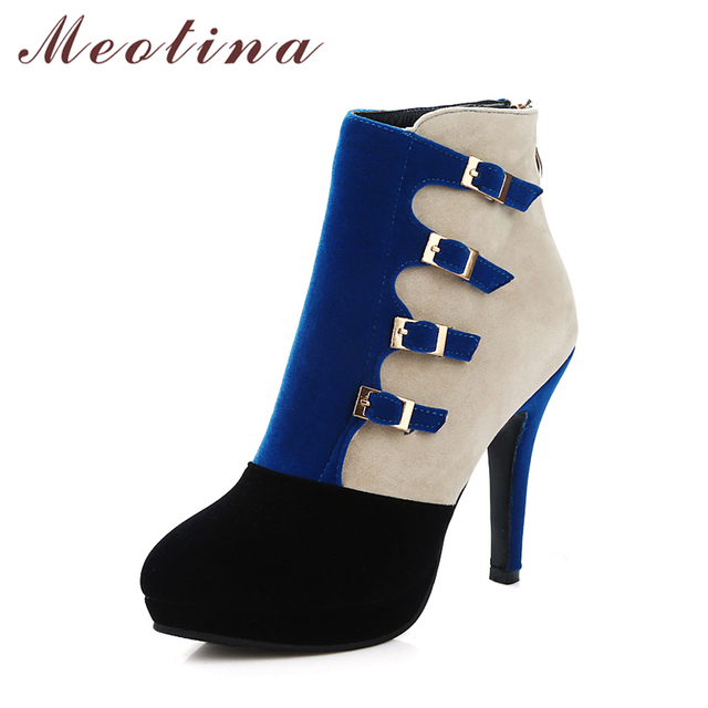Meotina Women Boots High Heels Ankle Boots Plus Size 9 41 42 Buckle Motorcycle Boots Zipper Autumn Winter Shoes Women Blue Black