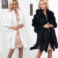T0859 Europe and America Female Warm Faux Fur Lace Scarf Women Autumn and Winter Coat Thickness Bride Shawl