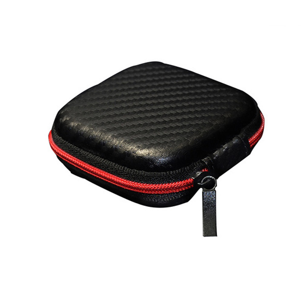 Portable Zipper Carbon Fiber Headphones Box Earphone Earbuds Hard Case SD Card Data Phone Cable Storage Carrying Pouch Bags