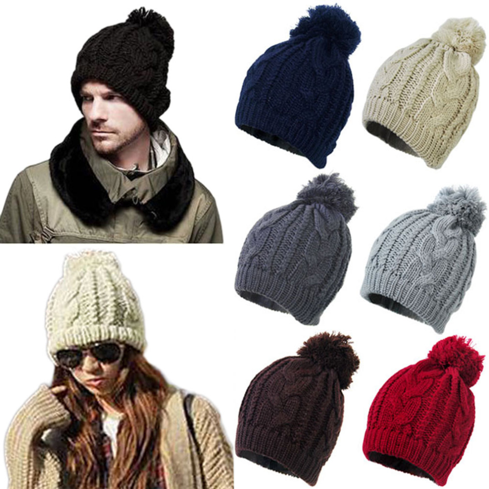 Fashion 2017 Winter Women Warm Big Fur Pompom Hat Beanie Men Wool Hip Hop  Beanies Girls Knitting Crochet Cap gorros hombre 39ab0524a32