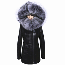 Factory Direct Supplier Winter Women Coats Full Artificial Fashion Slim Suede Female Jacket Models leather Fur Collar Fox