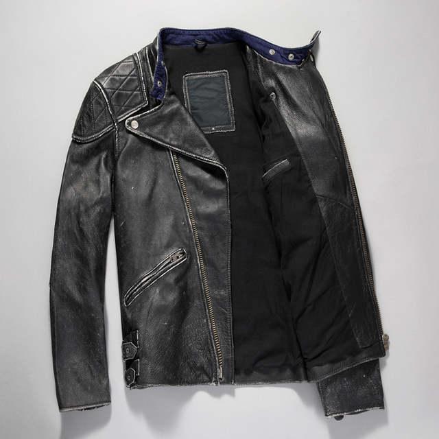 dff20c185e5 HARLEY DAMSON Retro Vintage Black Men Skull Leather Motorcycle Jacket Plus  Size XXXL Slim Fit Cowhide
