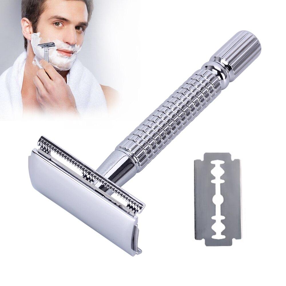 Profesyonel Çift Kenarlı tıraş bıçağı Erkekler için Yüz Bakımı 1 Razor + 1 Bıçak Klasik Güvenlik Tıraş Makinesi Gümüş Yeni Sıcak