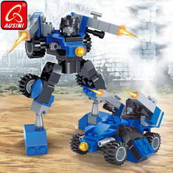 Ausini transformação blocos de construção designer caminhão lutador tanque figura robô brinquedos para o menino iluminar brinquedos criança modelo tijolo