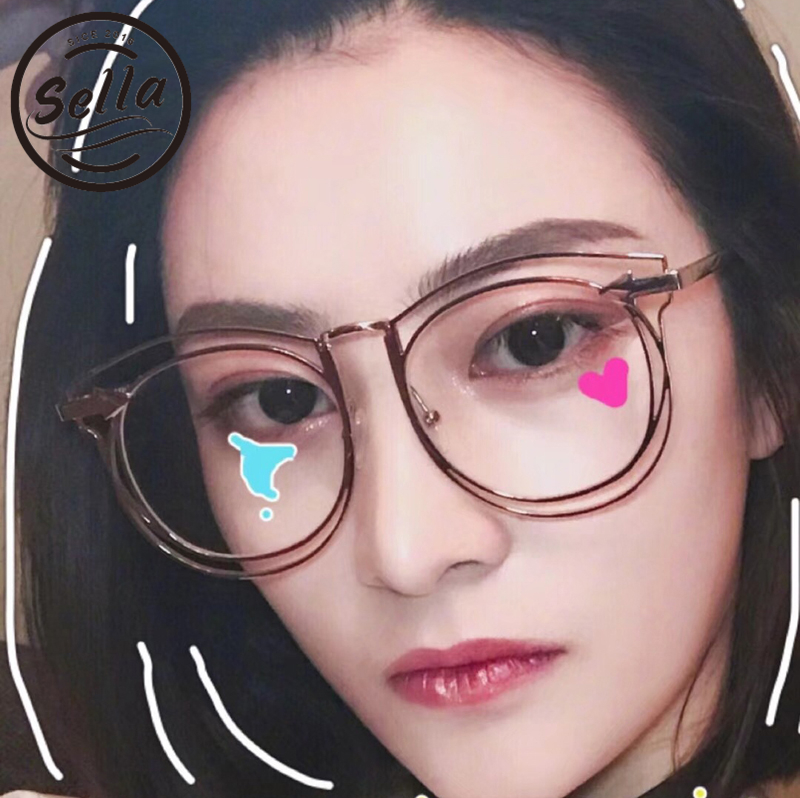 Sella 2018 New Fashion Oversized Retro Round Glasses Frame Brand Designer Trending Hollow Out Metal Alloy Eyewear Frame
