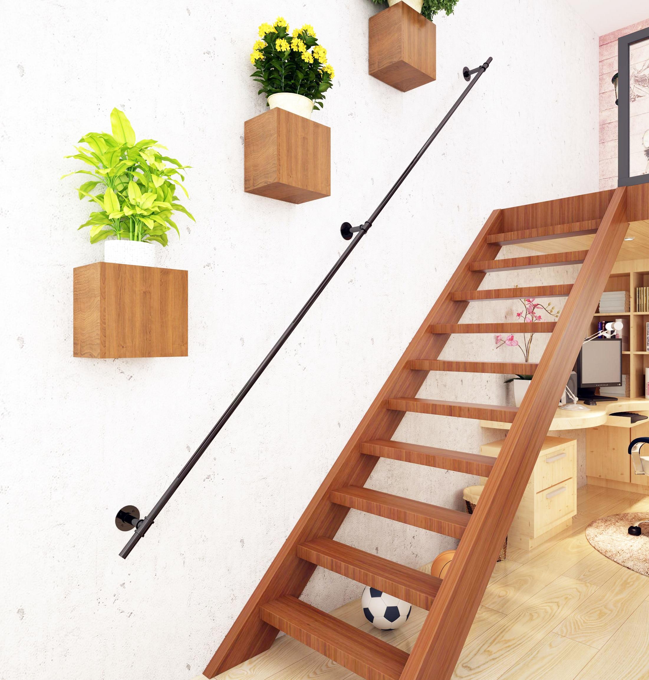 Diyhd Industrial Black Iron Loft Pipe Handrail For Stairs Rustic   Rustic Handrails For Stairs   Basement   Wooden   Banister   Metal   Deck