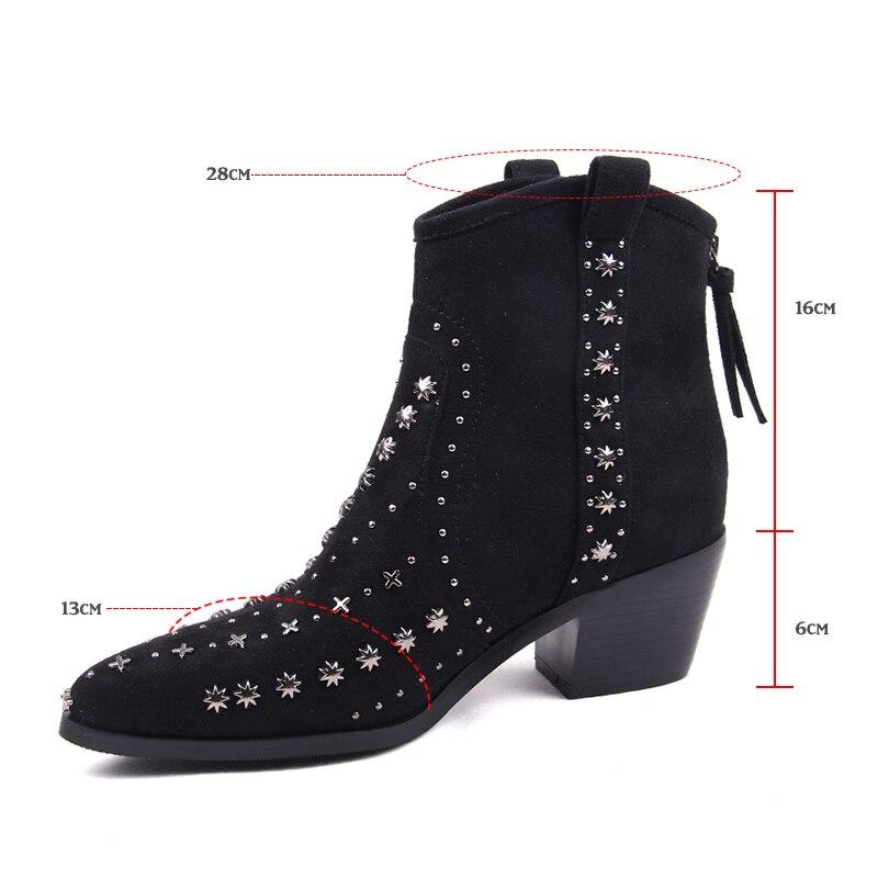 Printemps Femmes Noir Rivet Martin Pointu Bottes Mujer Bottines Bout Zapatos 2019 Fleur Susanna Microfibre De Clouté Luxe H9WEeD2IY