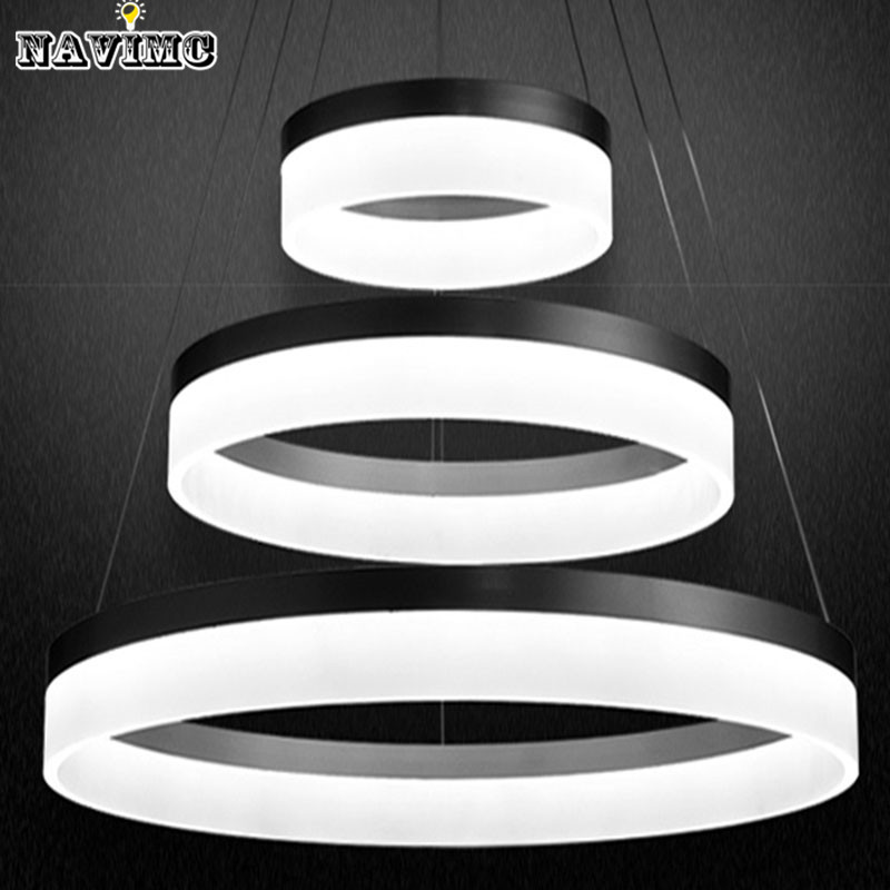 Modern acrylic led chandelier light fixturedesigner led large pendant lamp black ring lighting for hotel project living room in pendant lights from lights