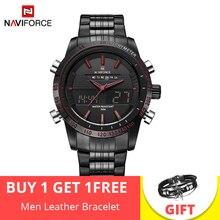 NAVIFORCE Элитный бренд часы для мужчин полный сталь Аналоговые кварцевые цифровые светодиодный часы Dual Time Спортивные часы мужской…