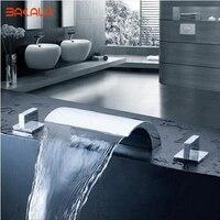 Bakala 3 peças set chrome deck montado cachoeira grande bico duplo alças torneira da banheira do banheiro mixer toque
