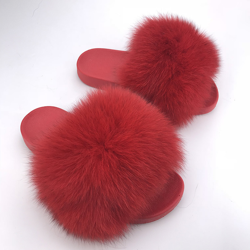 2018 Real Rot Waschbär Fell Hausschuhe Frauen Rutschen Fuchs Haar Flache Flauschigen Mode Hause Sommer Große Größe Natürliche Pelzigen Flip -flops Schuhe Verschiedene Stile