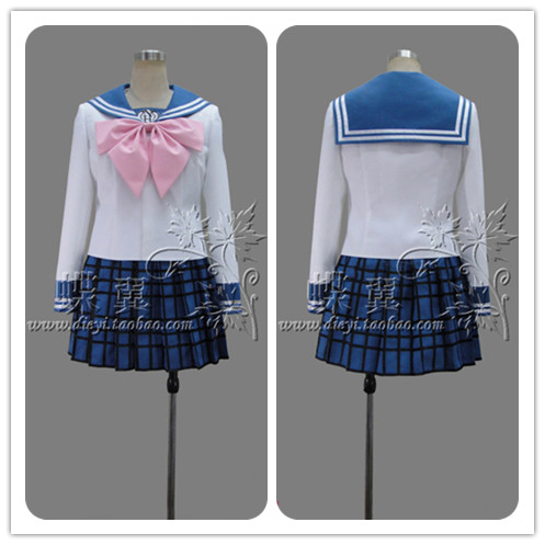 Cosplay Costume High Quality Maizono Sayaka Cos JK Uniform For Anime Danganronpa2 Cosplay Costume For Woman (Top+Skirt+Tie)