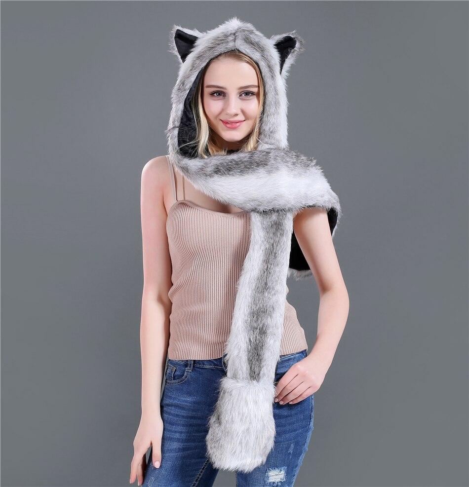 New Fashion Imitation Fur Hat Cartoon Animal Hat Scarf Gloves One Piece Women Winter Set