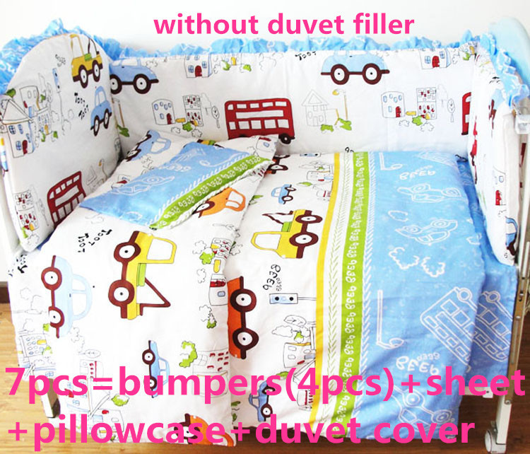 Promotion! 6/7PCS Cute Baby Cot Set 100% Cotton,Duvet Cover,Crib Set For Kids,Baby Bedding Set Unpick,120*60/120*70cm цена
