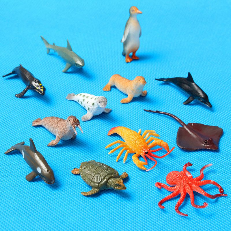 Mini 12pcs/set Plastic Marine Animal Model Toy Figure Ocean Creatures Dolphin Kids Toy Best Model Gift For Children Kids 65 pcs set small sea animals toy figurine mixed lot ocean creatures fish marine life solid model children gifts free shipping