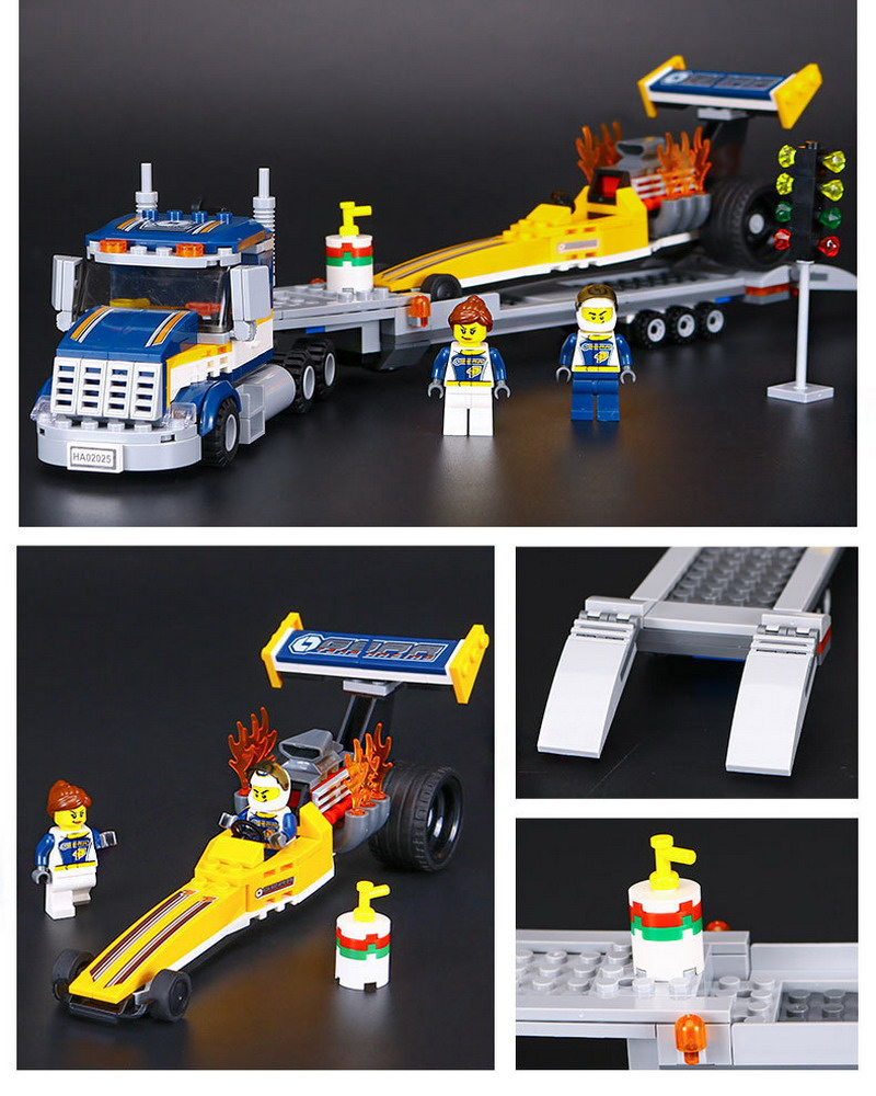 02025 LEPIN City Great Vehicles Dragster Transporter Model Building Blocks Enlighten Figure Toys For Children Compatible Legoe lego city great vehicles буксировщик автомобилей 60081