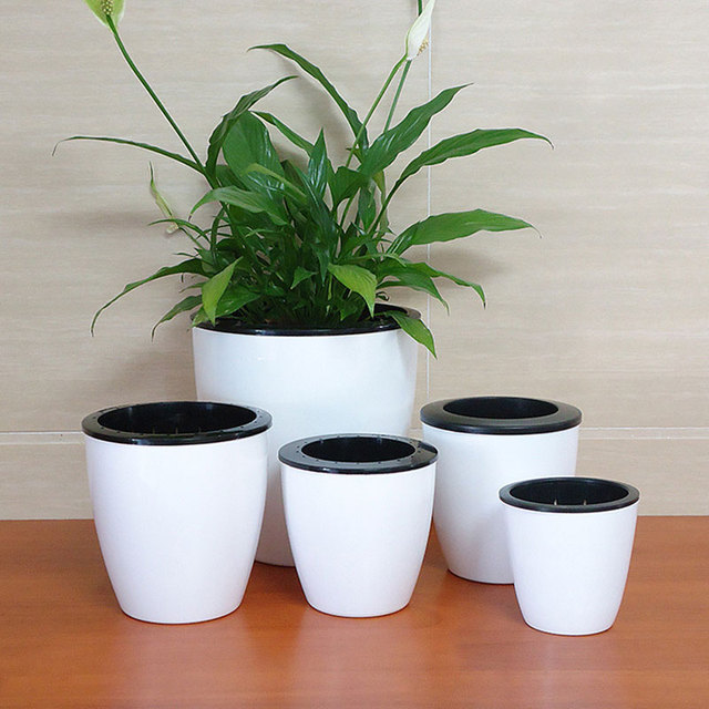 plastic flower pot WITHOUT WATERING,glazed indoor planter ...