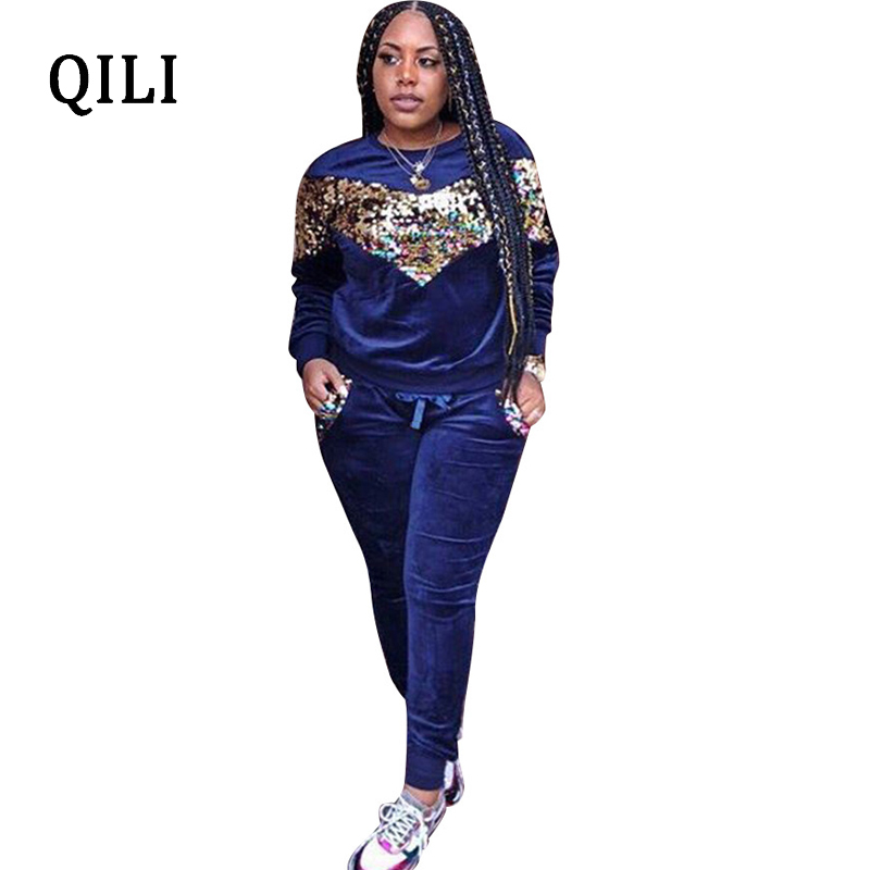 QILI Velvet Long Sleeve Jumpsuits For Women Sequined Two piece set Office Lady Jumpsuit New Autumn