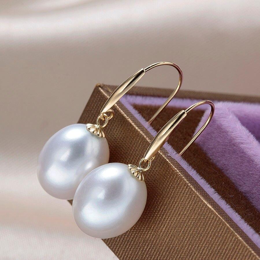 Lindo Top Qualität Aus Echtem Gold Drop Ohrringe Frauen Elegante 5A Natürliche Süßwasser Perle Schmuck 18 karat Gold Hochzeit Ohrringe 90% OFF-in Ohrringe aus Schmuck und Accessoires bei  Gruppe 2