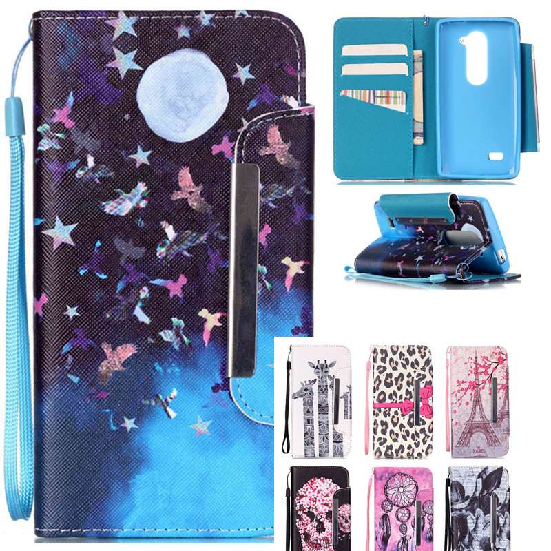 Wallet Leather Flip Cartoon Moon Deer Card Slot Phone <font><b>Case</b></font> For <font><b>LG</b></font> <font><b>LEON</b></font> Tribute 2 <font><b>4G</b></font> <font><b>LTE</b></font> C40 H340N H320 C50 H324 H340 <font><b>Case</b></font> Cover image